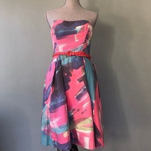 🆕👗 Anthropologie Strapless Belted Dress
